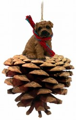 Pine Cone Shar-Pei Dog Christmas Ornament