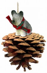 Pine Cone Skye Terrier Dog Christmas Ornament