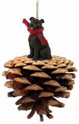 Pine Cone Staffordshire Bull Terrier Dog Christmas Ornament
