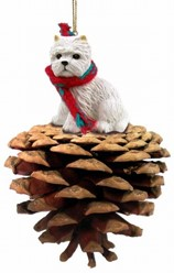 Pine Cone West Highland Terrier Dog Christmas Ornament