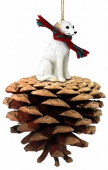 Pine Cone Whippet Dog Christmas Ornament