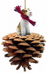 Pine Cone Wirehaired Fox Terrier Dog Christmas Ornament