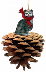 Pine Cone Silver Tabby Cat Christmas Ornament