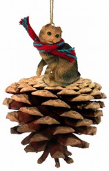 Pine Cone Scottish Fold Cat Christmas Ornament