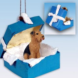 Airedale Gift Box Holiday Ornament