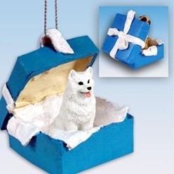American Eskimo Gift Box Holiday Ornament