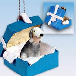 Bedlington Terrier Gift Box Holiday Ornament
