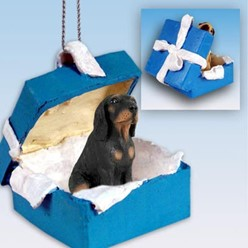Black & Tan Coonhound Gift Box Holiday Ornament
