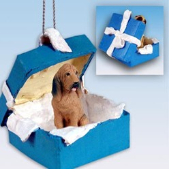 Bloodhound Gift Box Holiday Ornament