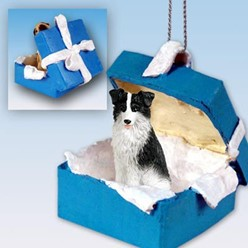 Border Collie Gift Box Holiday Ornament