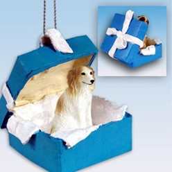 Borzoi Gift Box Holiday Ornament