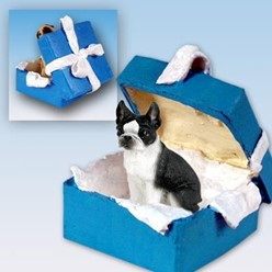 Boston Terrier Gift Box Holiday Ornament