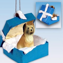 Briard Gift Box Holiday Ornament