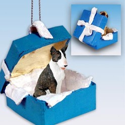 Bull Terrier Gift Box Holiday Ornament