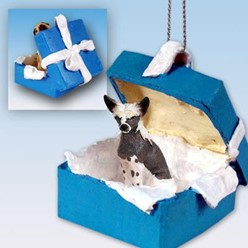 Chinese Crested Gift Box Holiday Ornament