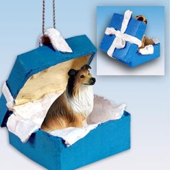 Collie Gift Box Holiday Ornament