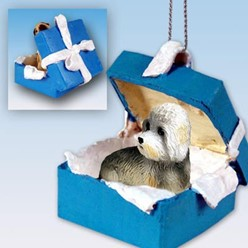 Dandie Dinmont Terrier Gift Box Holiday Ornament