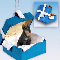 Doberman Gift Box Holiday Ornament