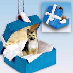 German Shepherd Gift Box Holiday Ornament
