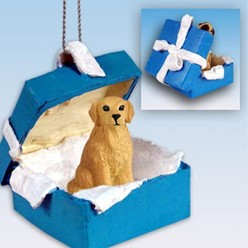 Golden Retriever Gift Box Holiday Ornament
