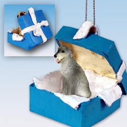 Irish Wolfhound Gift Box Holiday Ornament