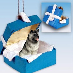 Keeshond Gift Box Holiday Ornament