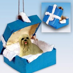 Lhasa Apso Gift Box Holiday Ornament