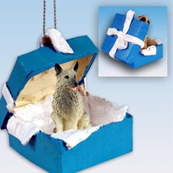 Norwegian Elkhound Gift Box Holiday Ornament