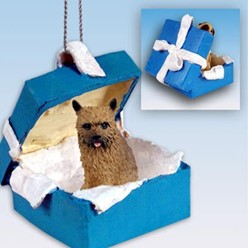 Norwich Terrier Gift Box Holiday Ornament