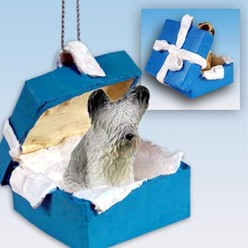 Skye Terrier Gift Box Holiday Ornament