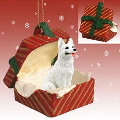 White German Shepherd Gift Box Dog Christmas Ornament