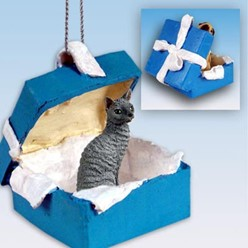Cornish Rex Cat Gift Box Holiday Ornament