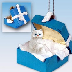 Persian Cat Gift Box Holiday Ornament