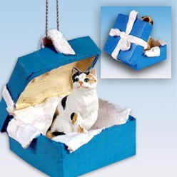 Calico Cat Gift Box Holiday Ornament