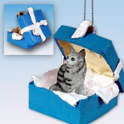 Maine Coon Cat Gift Box Holiday Ornament
