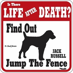 Jack Russell Jump the Fence Sign