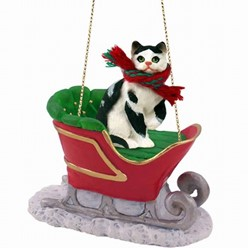 Black and White Cat Christmas Ornament with Sleigh