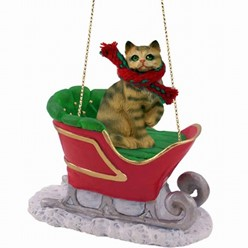 Brown Tabby Christmas Ornament with Sleigh