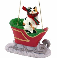 Calico Cat Christmas Ornament with Sleigh