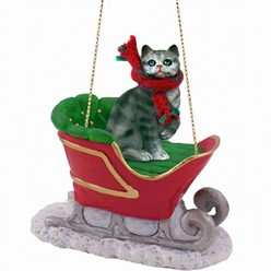 Silver Tabby Cat Christmas Ornament with Sleigh