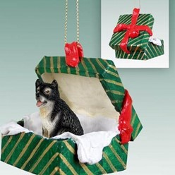 Alaskan Malamute Green Gift Box Christmas Ornament