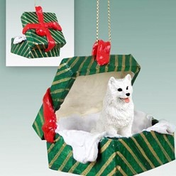 American Eskimo Green Gift Box Christmas Ornament