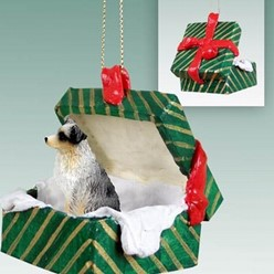Australian Shepherd Green Gift Box Christmas Ornament