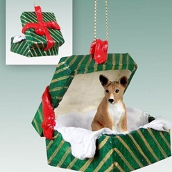 Basenji Green Gift Box Christmas Ornament