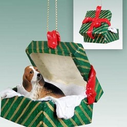 Basset Hound Green Gift Box Christmas Ornament