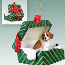 Beagle Green Gift Box Christmas Ornament