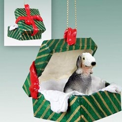 Bedlington Terrier Green Gift Box Christmas Ornament