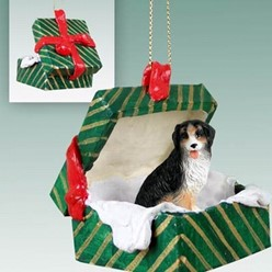 Bernese Mountain Dog Green Gift Box Christmas Ornament
