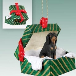 Black and Tan Coonhound Green Gift Box Christmas Ornament