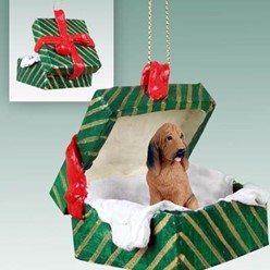 Bloodhound Green Gift Box Christmas Ornament